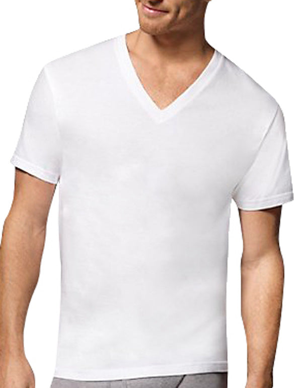 White Front Hanes Men 6-Pack Tagless V-Neck T-Shirts 777VP6