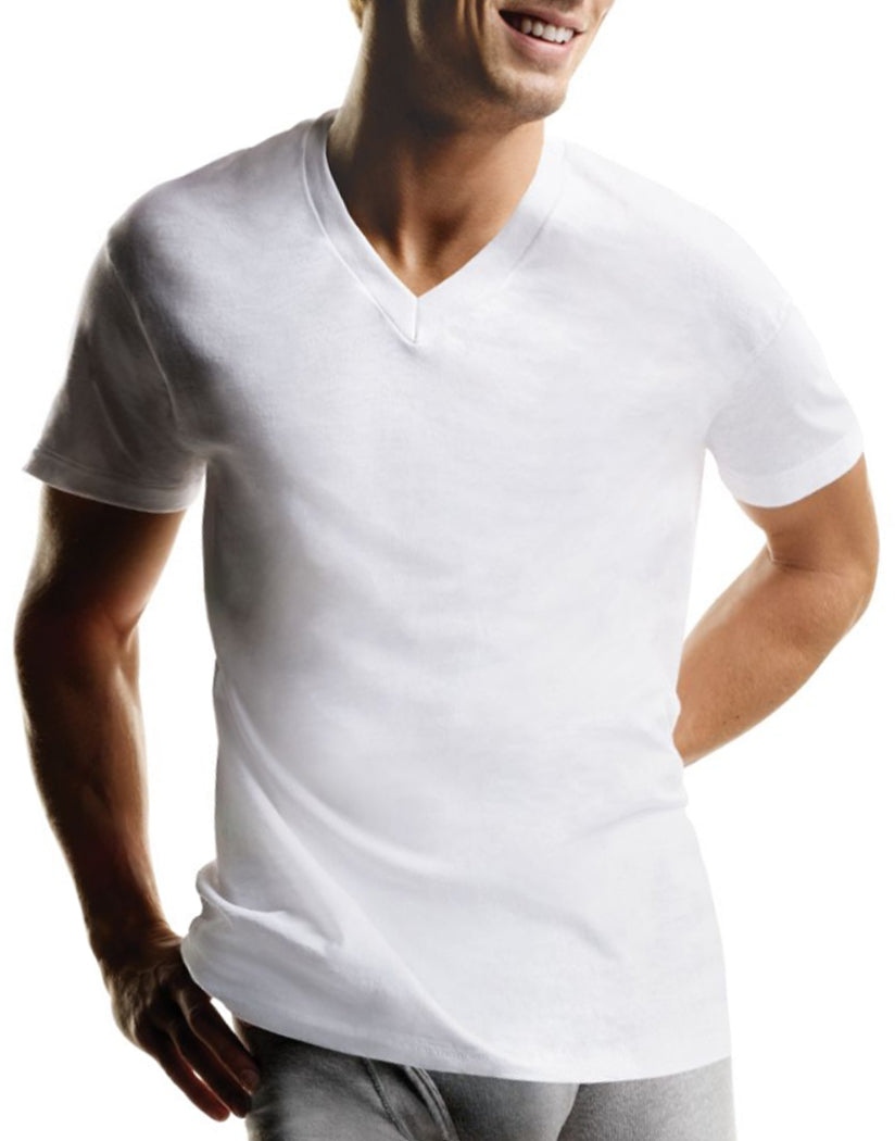 White Front Hanes 3-Pack V-Neck T-Shirts