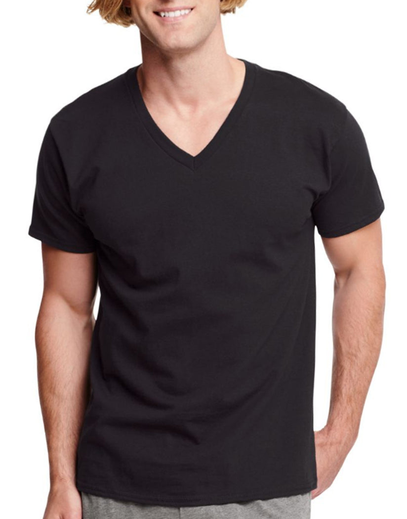 Black Front Hanes Men Traditional Fit ComfortSoft Tagless Dyed Black V-Neck Undershirt 3-Pack 7883B3