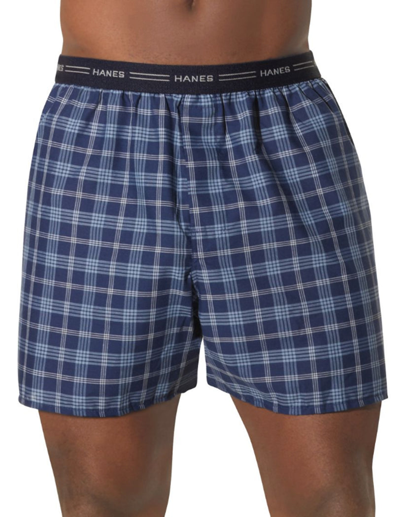 Assorted Plaid Front Hanes Men Red Label Exposed Elastic Waistband Boxer 2-Pack