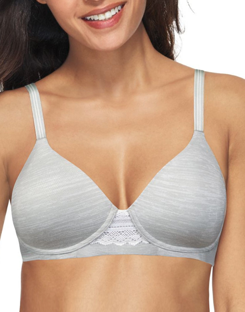 Sterling Grey Heather Print Front Hanes Women Ultimate Natural Lift Wirefree Bra DHHU25