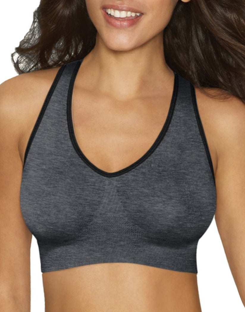 Gravel Grey Heather Front Hanes Cozy Racerback Pullover ComfortFlex Fit® Wirefree Bra