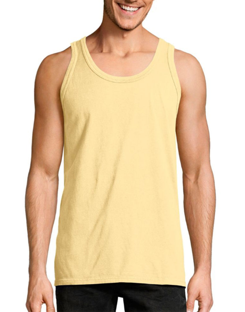 Summer Squash Yellow Front Hanes Men ComfortWash‰̣ۡå¢ Garment Dyed Sleeveless Tank Top