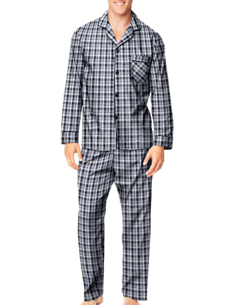 Blue Plaid Front Hanes Men Woven Pajamas LSLLBCWM
