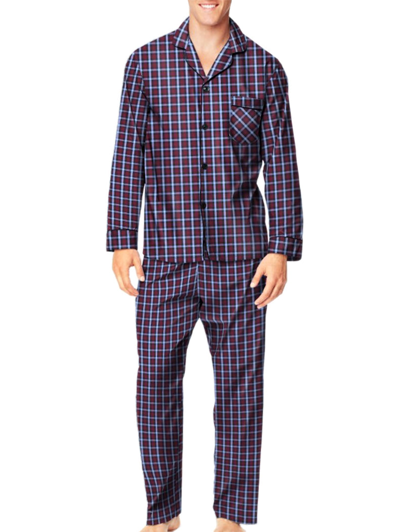 Burgundy Plaid Front Hanes Men Woven Pajamas LSLLBCWM