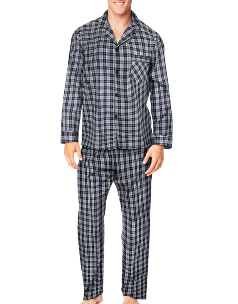 Grey/Black Plaid Front Hanes Men Woven Pajamas LSLLBCWM
