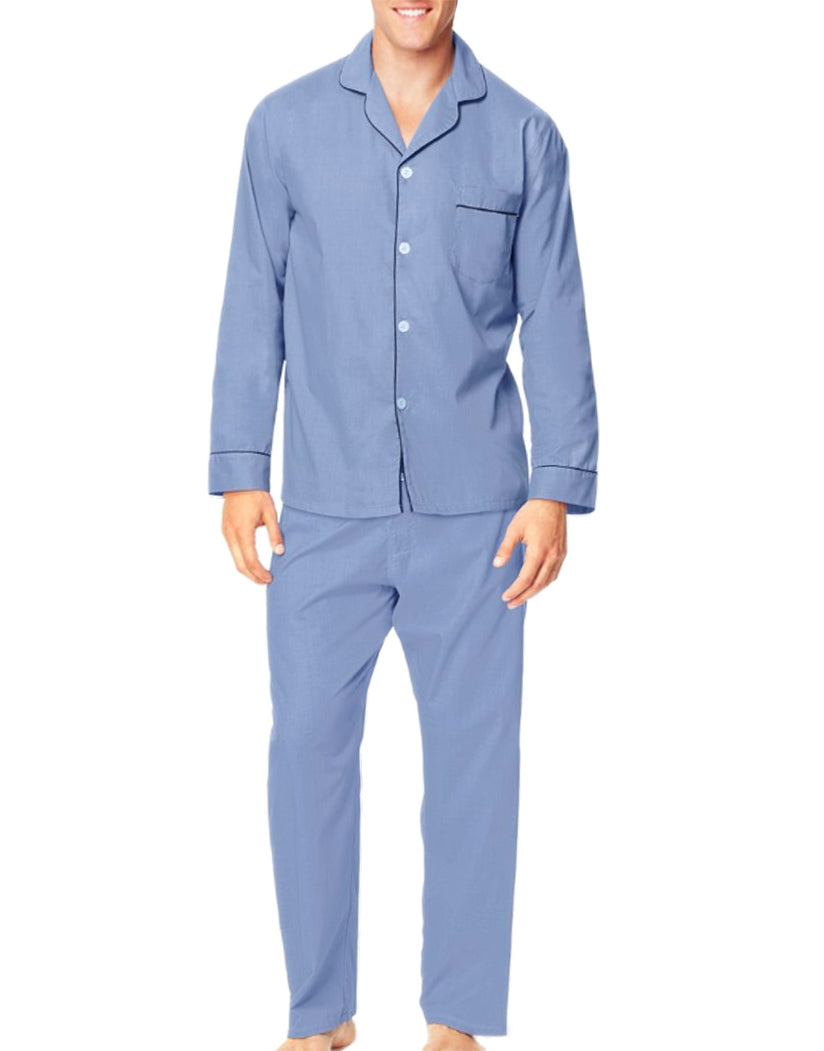 Medium Blue Front Hanes Men Woven Pajamas LSLLBCWM