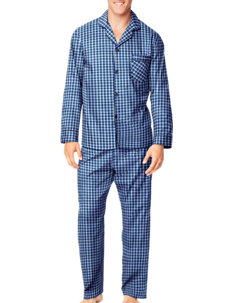 Navy/Light Blue Plaid Front Hanes Men Woven Pajamas LSLLBCWM
