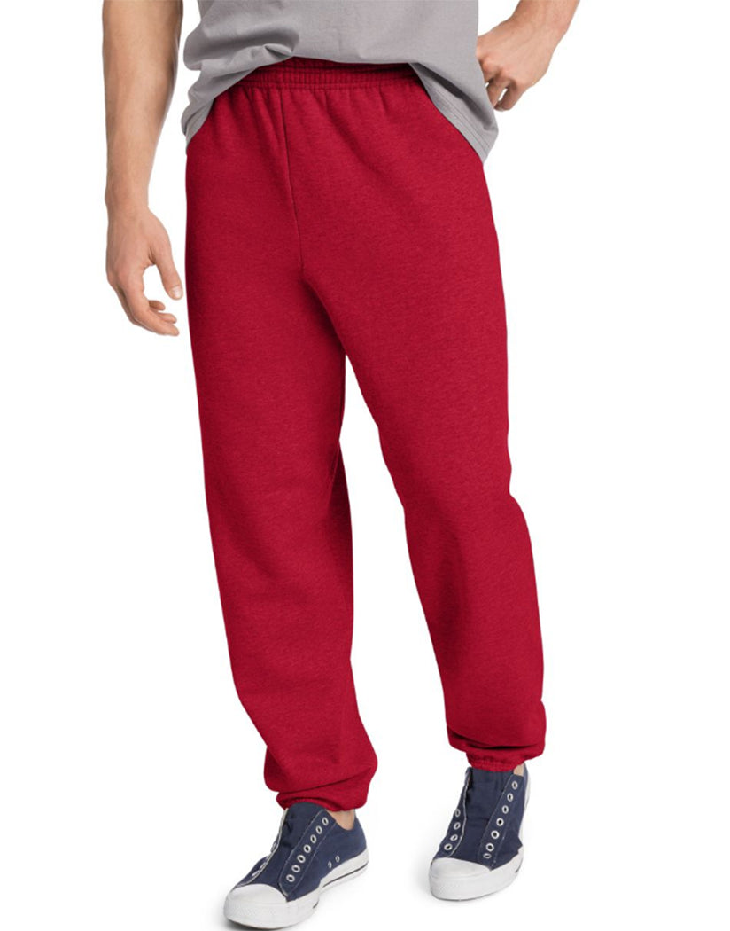 Deep Red Front Hanes ComfortBlend® EcoSmart® Men's Sweatpants