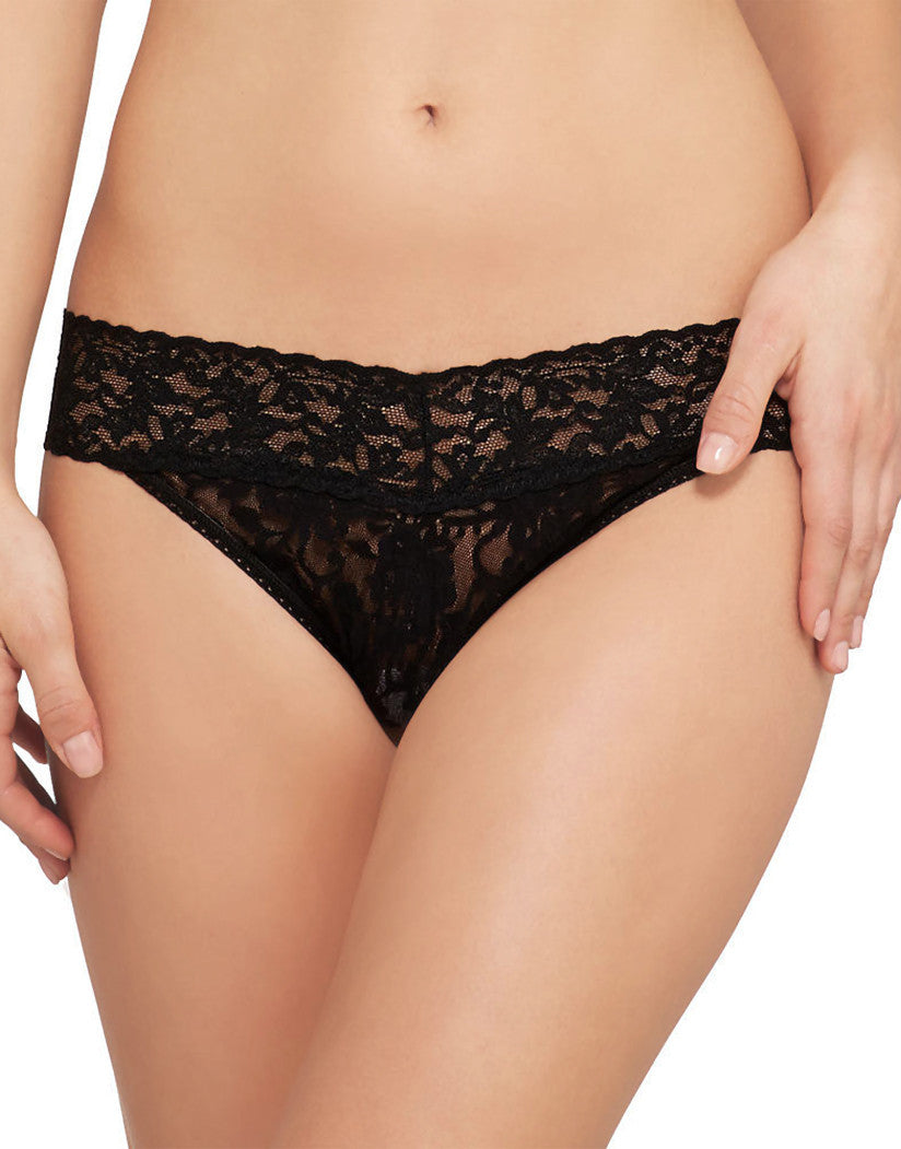 Black Front Hanky Panky Signature Stretch Lace Thong