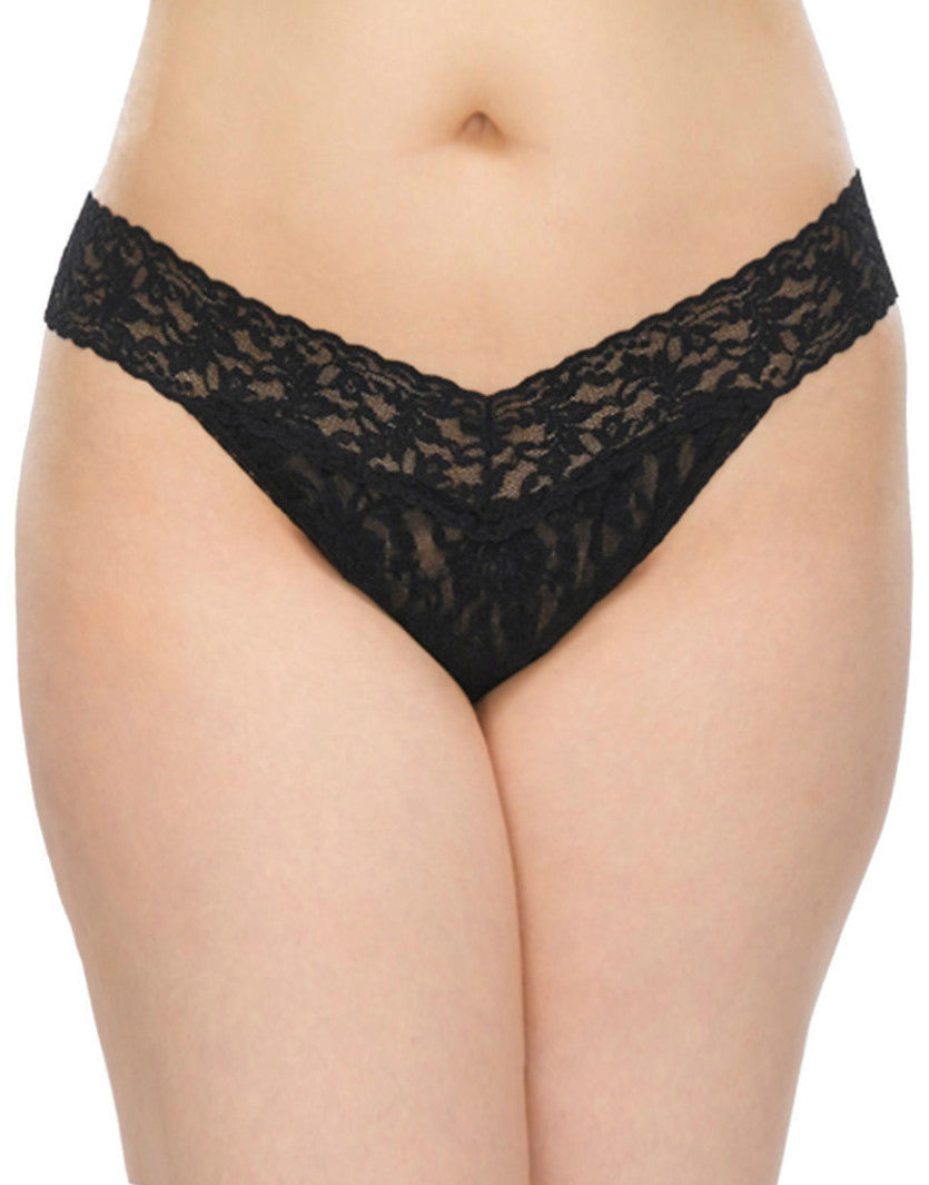 Black Front Hanky Panky Stretch Lace Plus Size Thong