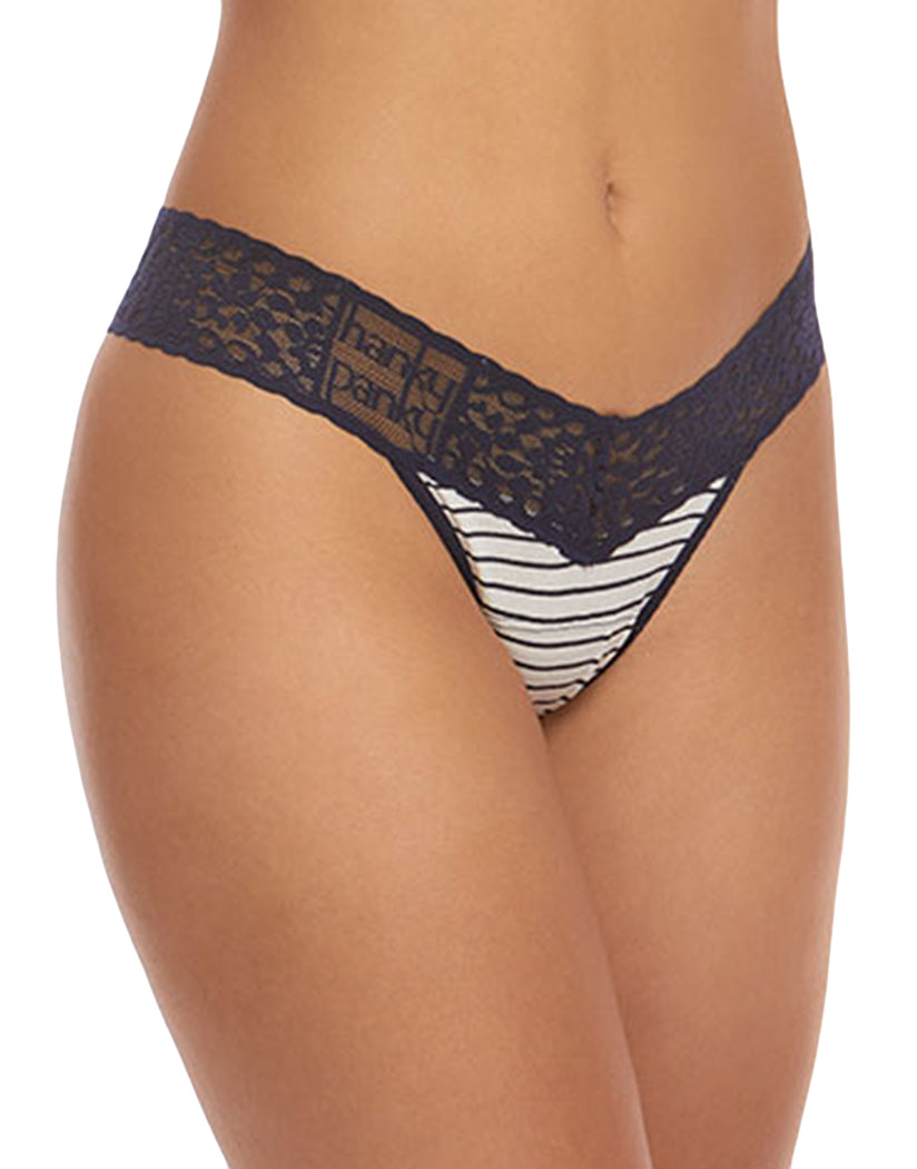 bb1724bc6069 White/Navy Front Hanky Panky Low Rise Thong Striped Jersey White/Navy Blue  Lace