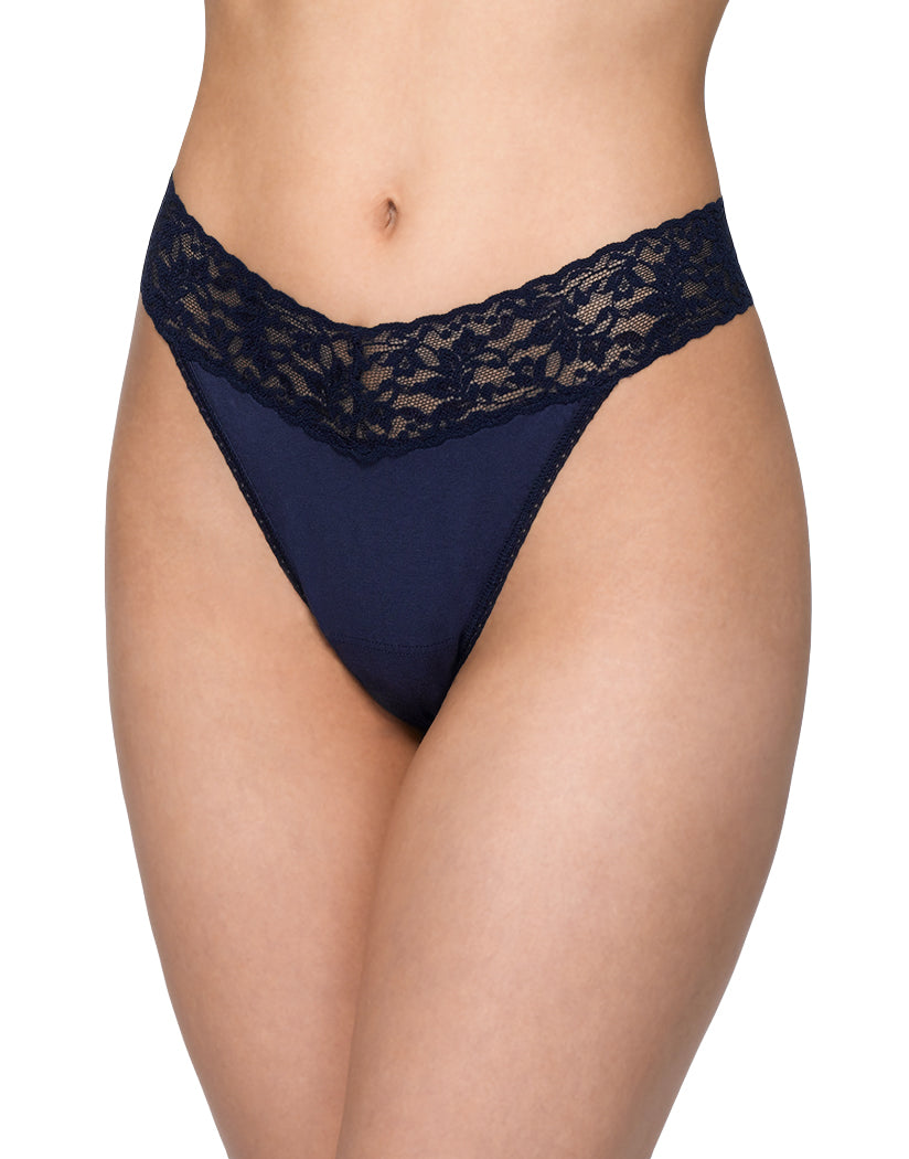 Navy Front Hanky Panky Cotton with a Conscience Original Rise Thong