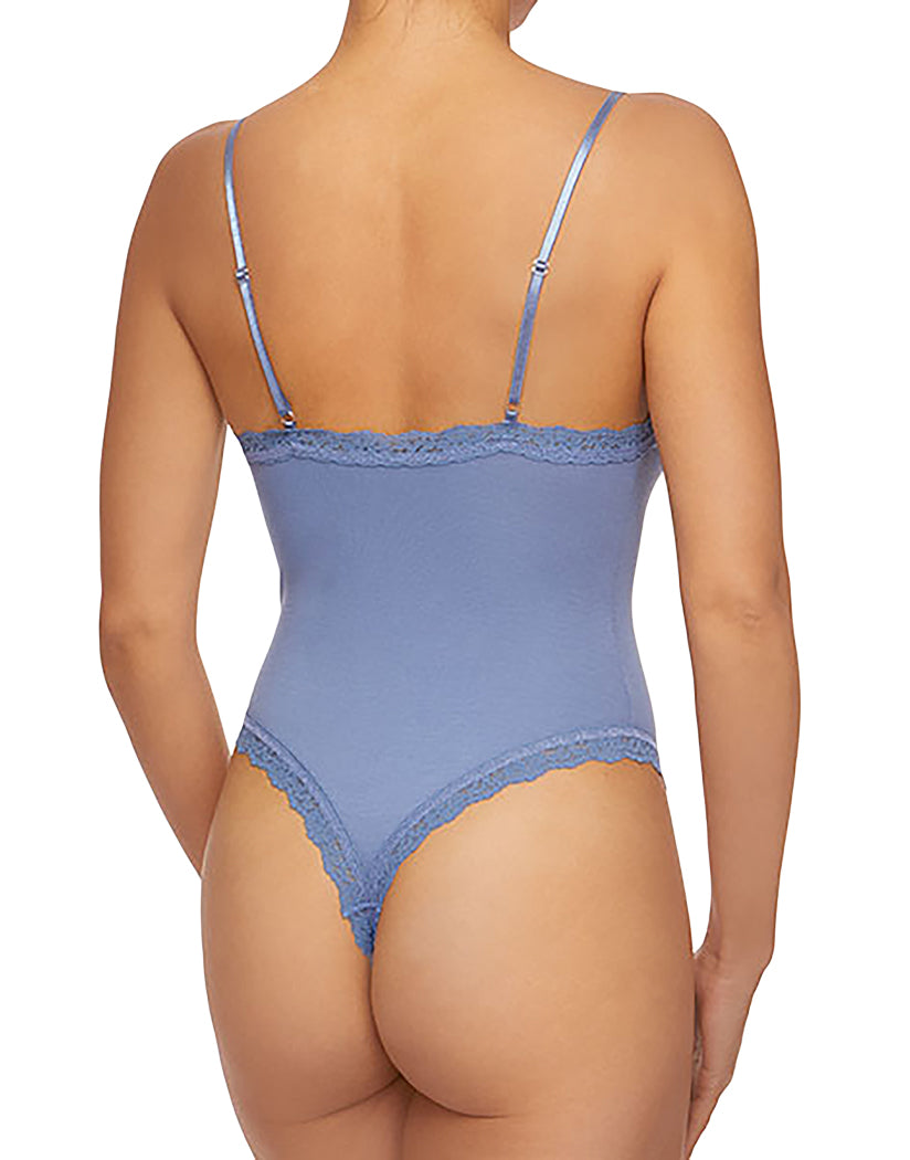 Washed Indigo Back Hanky Panky Cotton Lace Trim Thong-Back Bodysuit Washed Indigo Blue 898501