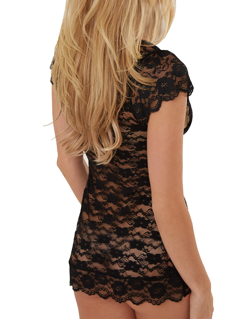 Black Back All Over Lace V Neck Chemise with Panty