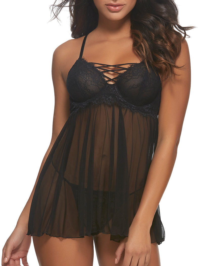Black Front Jezebel Gretel 2 Piece Mesh & Lace Lace Up Babydoll with Panty