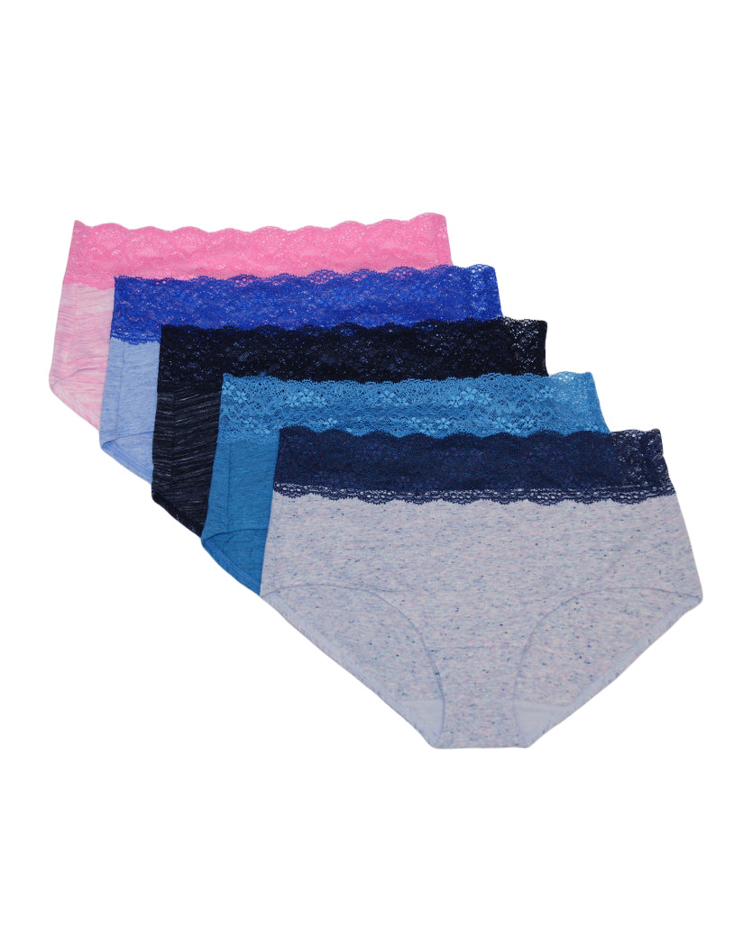 Pink Rainforest Heather/Surf The Web Linen Heather/Multi Color Heather Speckle w/Navy Lace/Heather Black Space Dye/Turq Marble Heather Yarn Front Jezebel Hipster 5-Pack with Wide Lace Waistband