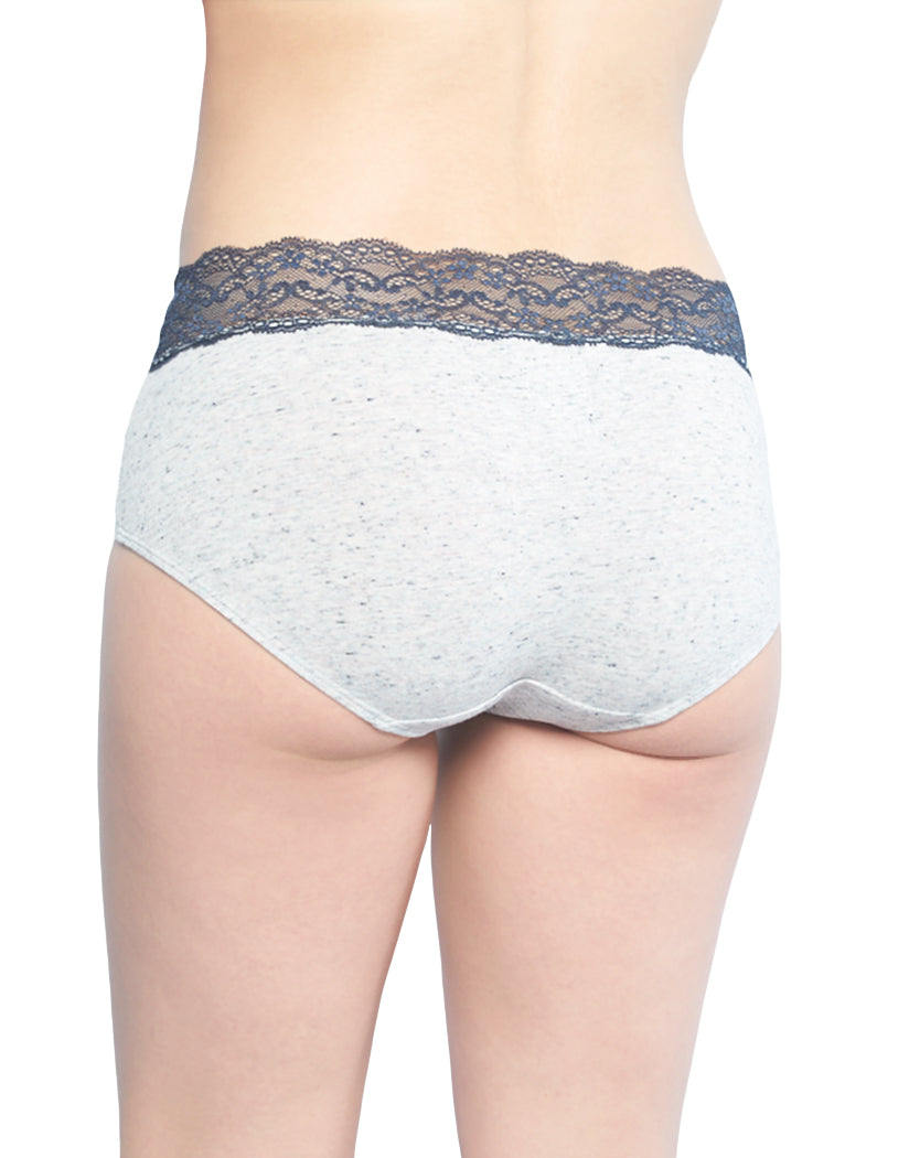 Pink Rainforest Heather/Surf The Web Linen Heather/Multi Color Heather Speckle w/Navy Lace/Heather Black Space Dye/Turq Marble Heather Yarn Back Jezebel Hipster 5-Pack with Wide Lace Waistband