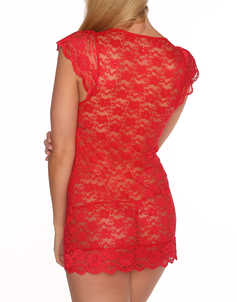 Red Back All Over Lace V Neck Chemise with Panty