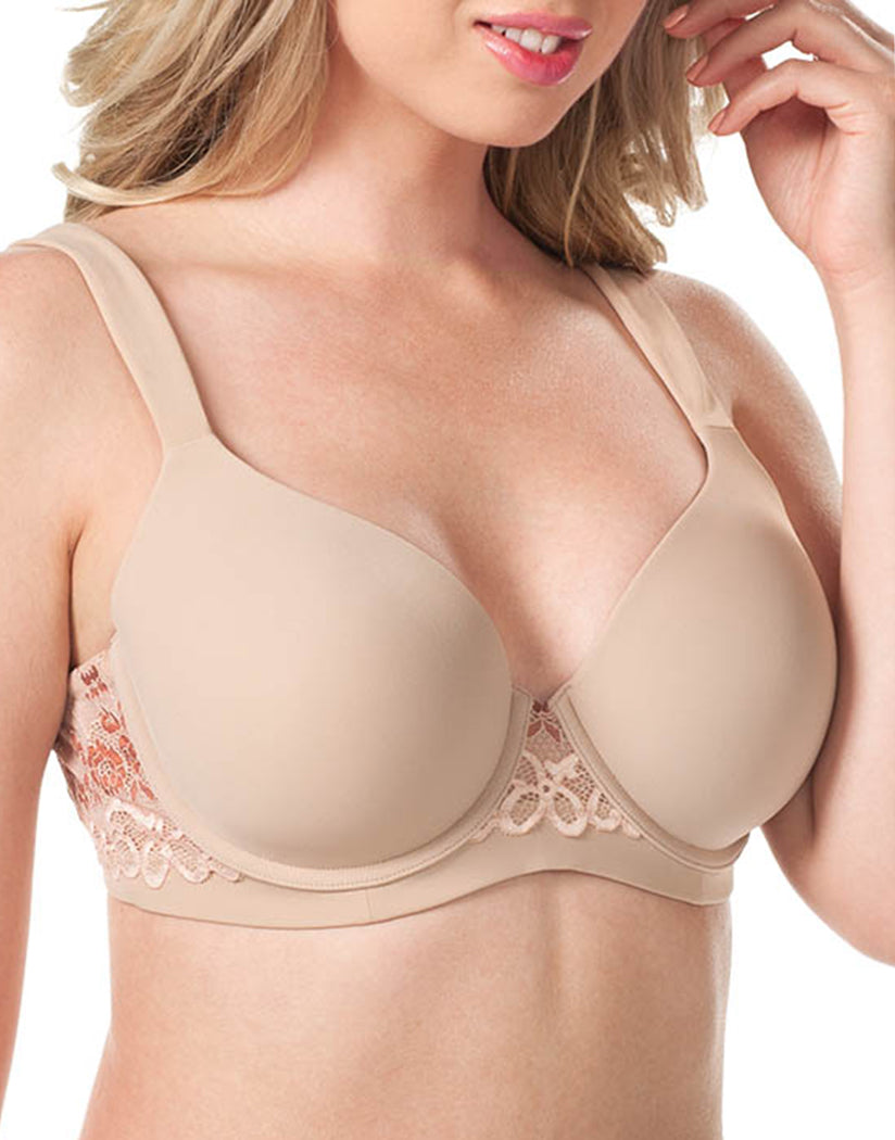 Warm Taupe Front Leading Lady Brigitte Lace Underwire Padded Comfort Bra Warm Taupe 5214