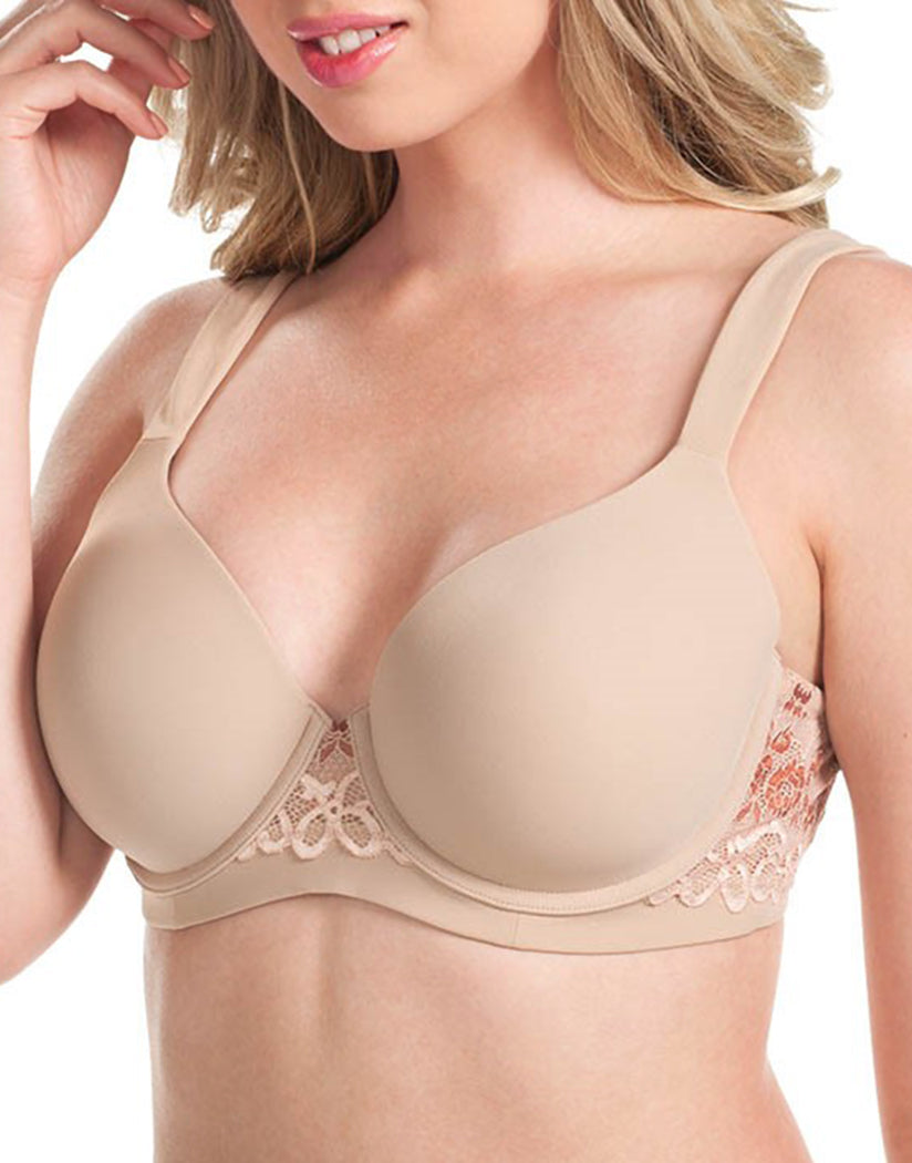 Warm Taupe Front Leading Lady Brigitte Lace Wirefree Padded Comfort Bra Warm Taupe 5215