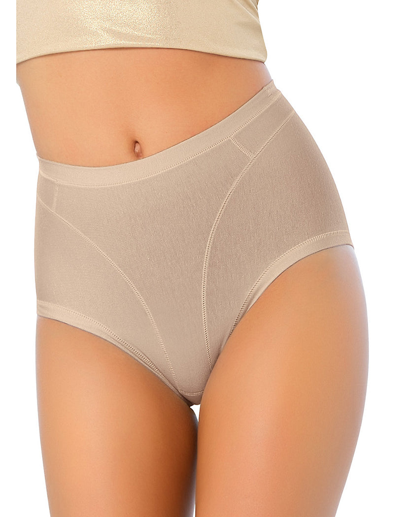 Nude Front Leonisa Women's High Cut Panty Shaper In Cotton