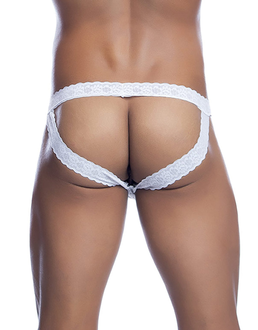 White Back Lace Jockstrap MBL12