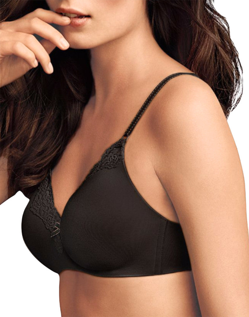 Black Body Beige Lining Front Maidenform Comfort Devotion Wirefree Lifting Demi Bra 09456