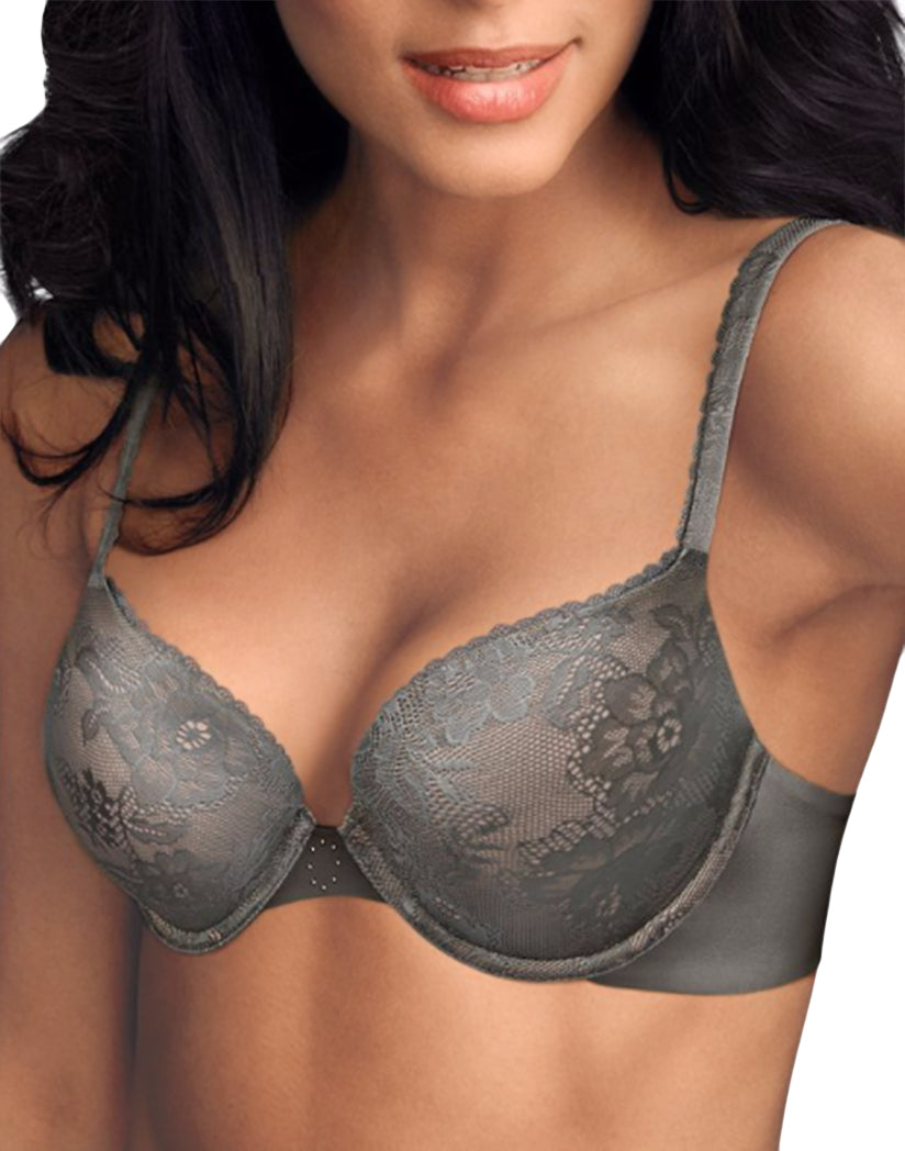 Steel Grey/Shell Front Maidenform Love the Lift Embellished Demi Push-Up Bra