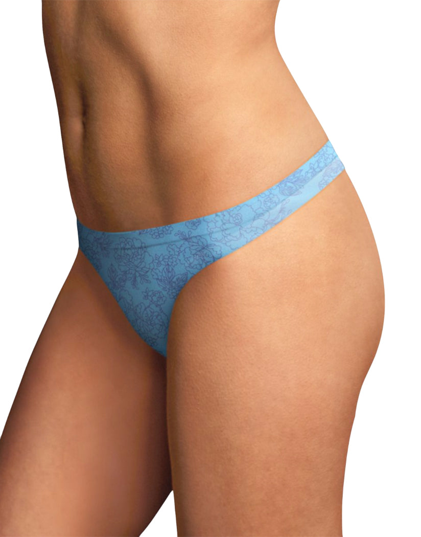 Whimsy Tatto Print w/Blue Whimsy Front Maidenform Comfort Devotion Thong