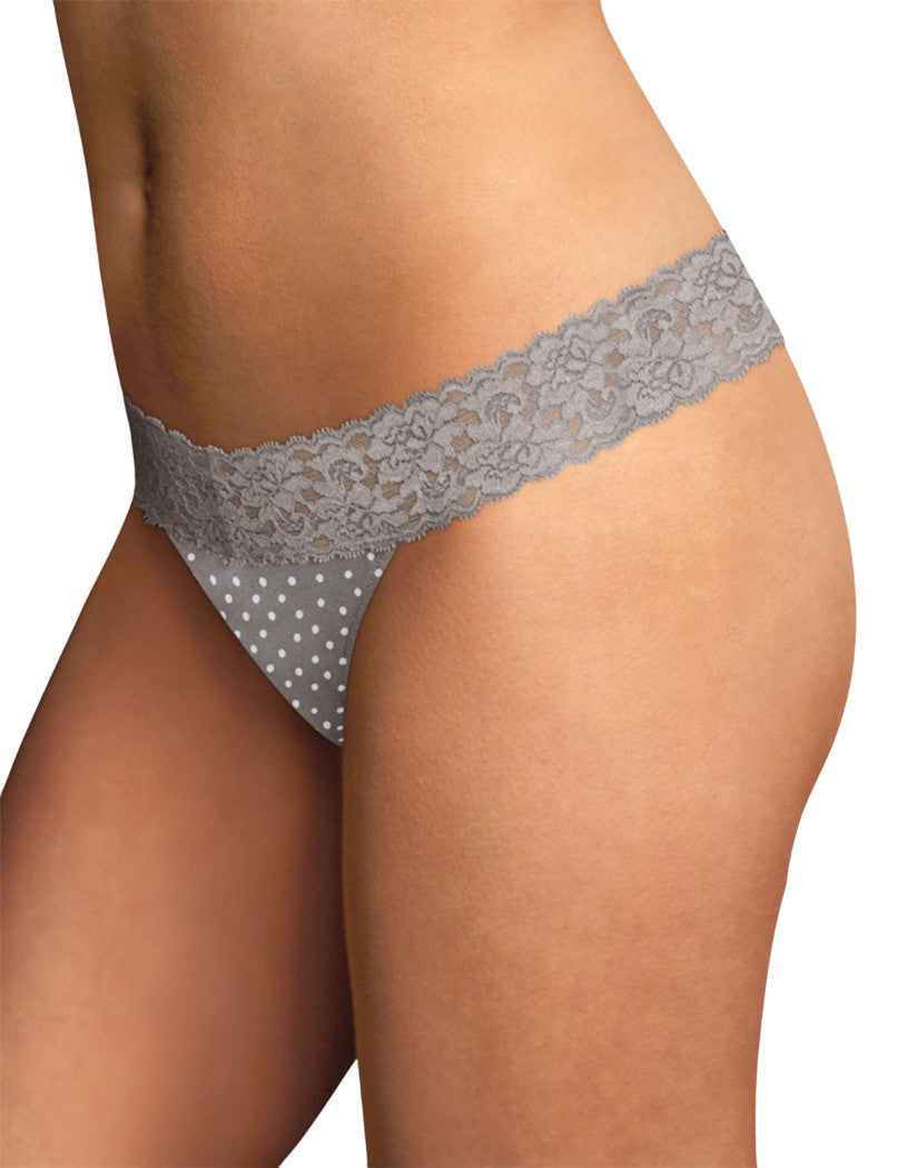 Steel Grey Dot Front Maidenform® Dream® Thong with Lace