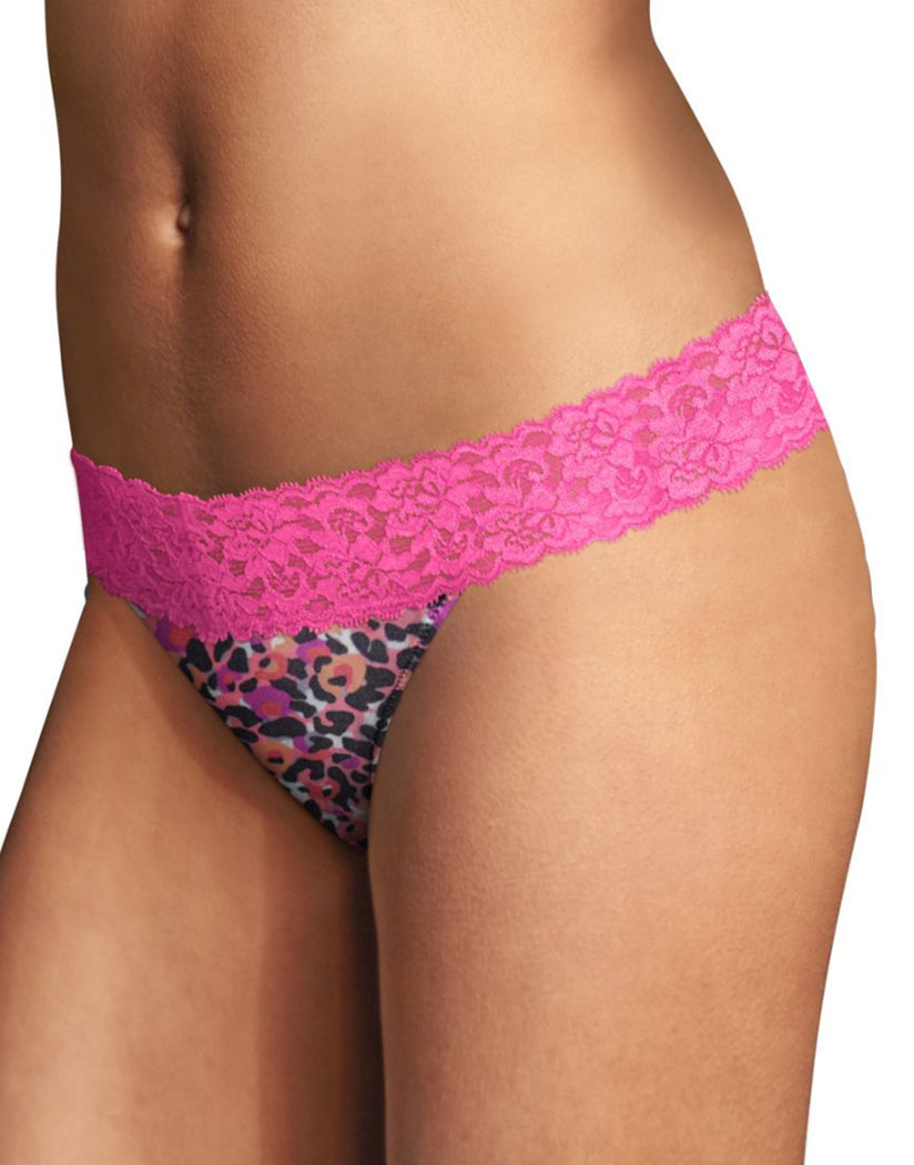 Leopard Garden Print/Prim Pink Front Maidenform Comfort Devotion Lace Back Tanga Thong