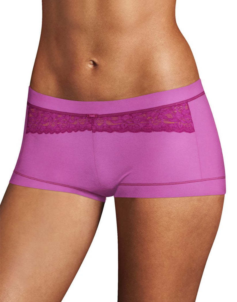 Purple Rose w/Razzleberry Lace and Trim Front Maidenform Dream Boyshort 40774