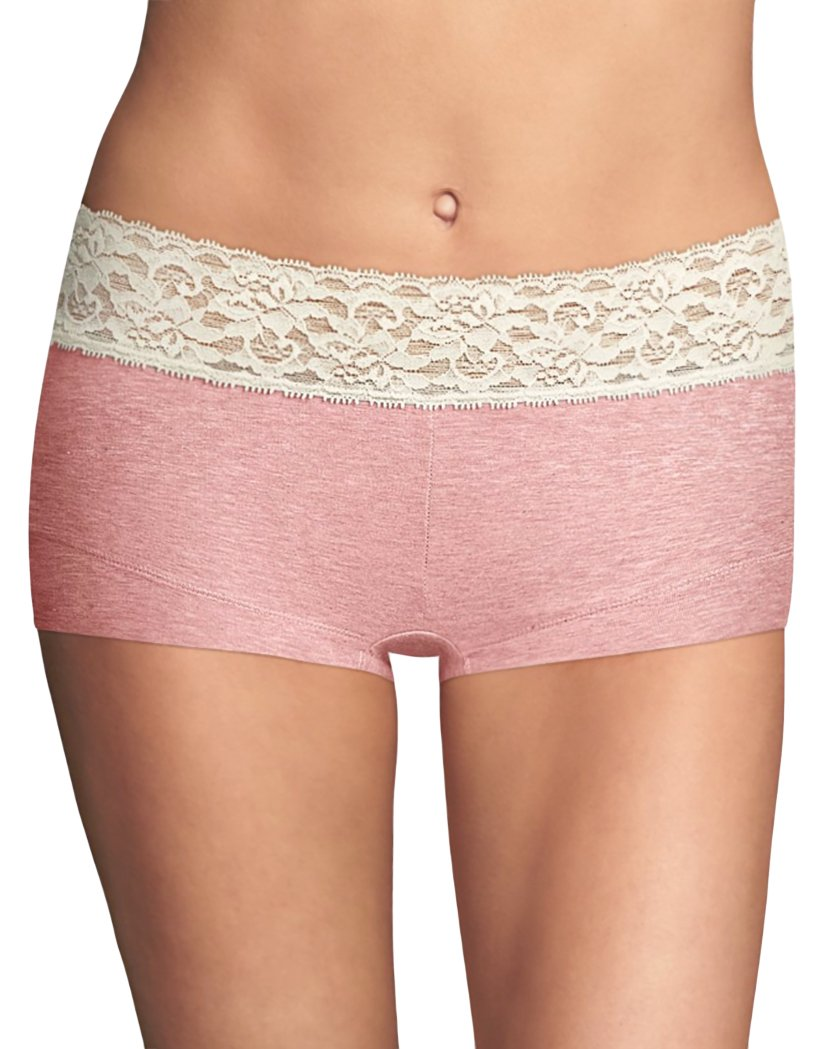 Gentle Peach w/ Ivory Front Maidenform Cotton Dream Lace Boyshort 40859