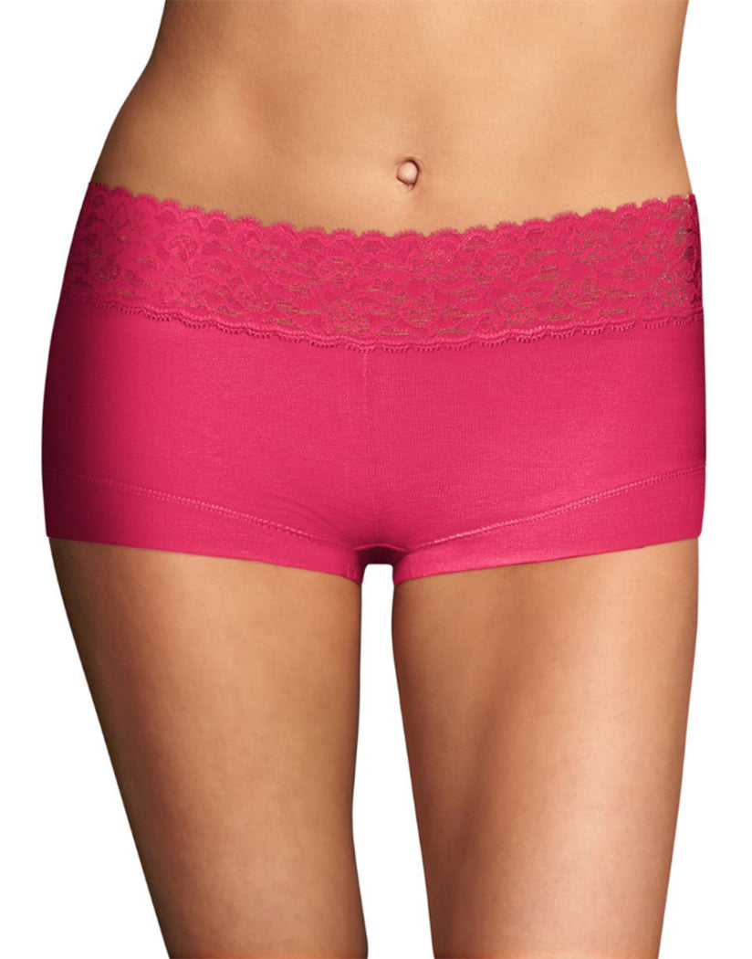 Pink About It Front Maidenform Cotton Dream Lace Boyshort