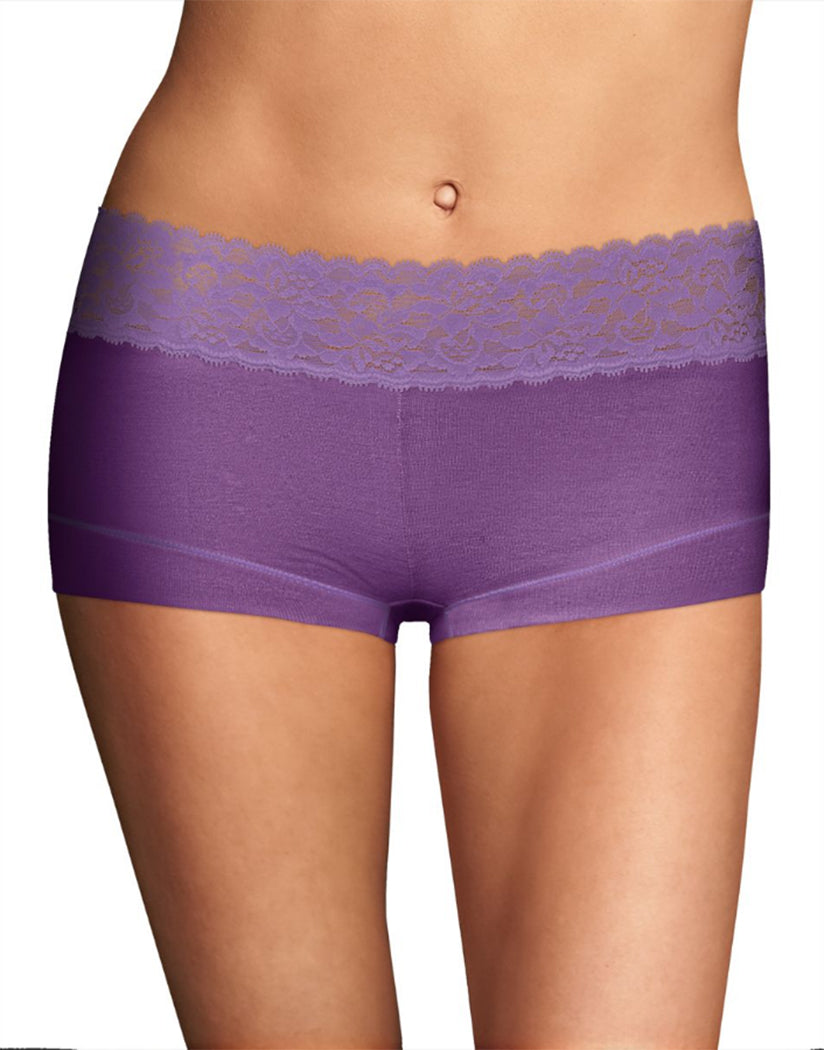 Plush Purple w/Lilac Blossom Front Maidenform Cotton Dream Lace Boyshort 40859