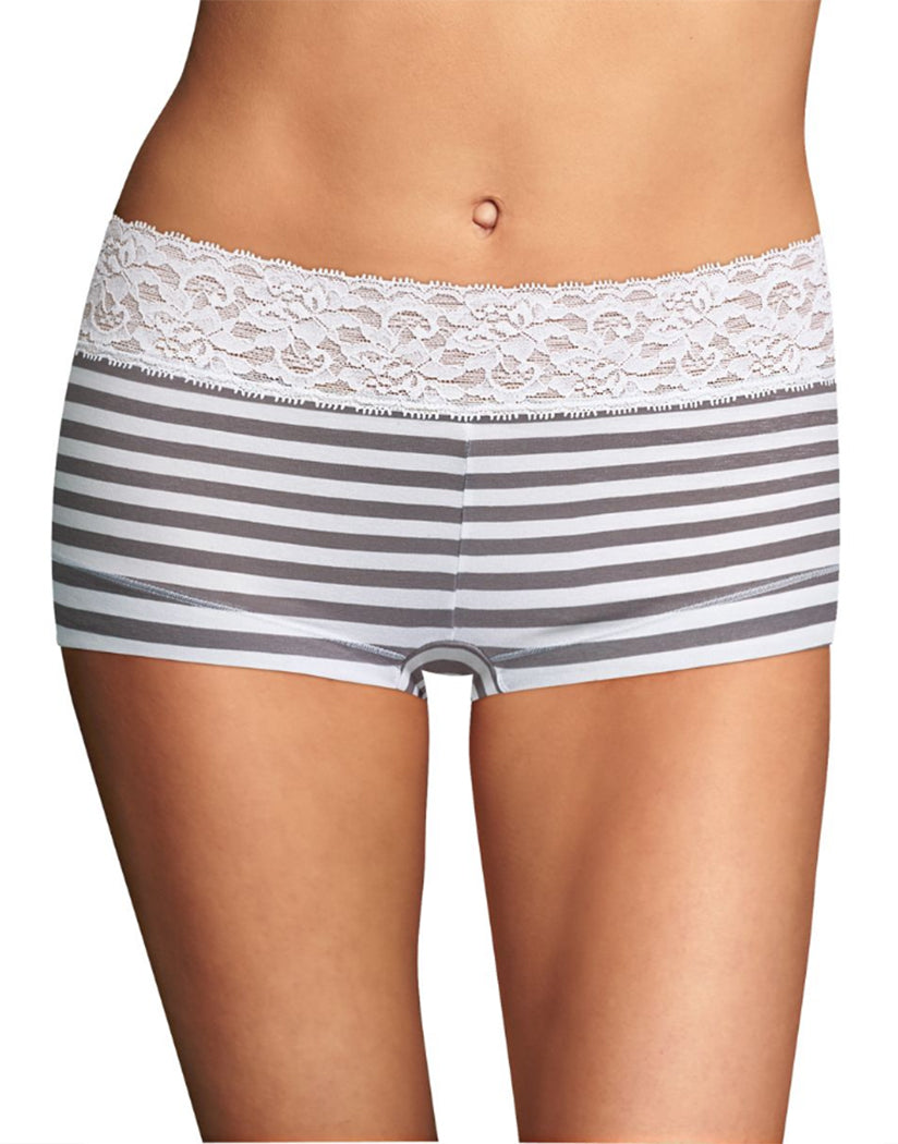 Steel Stripe Front Maidenform Cotton Dream Lace Boyshort 40859