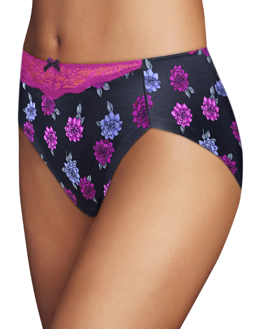 Exotic Floral Print Lace Front Maidenform Comfort Devotion High Leg Brief CDHLBF