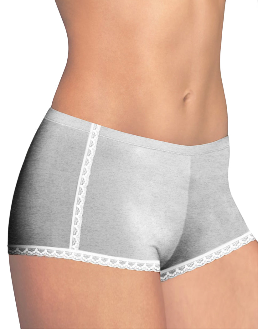 Grey Heather w/ White Front Maidenform One Fab Fit Cotton Lace Boyshort