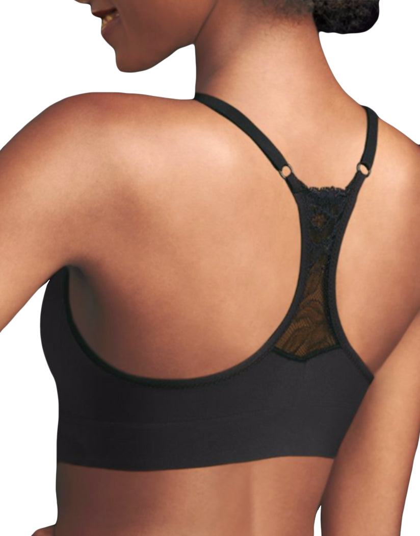 Black Back Maidenform Fit To Flirt Seamless Lace T-back Bra