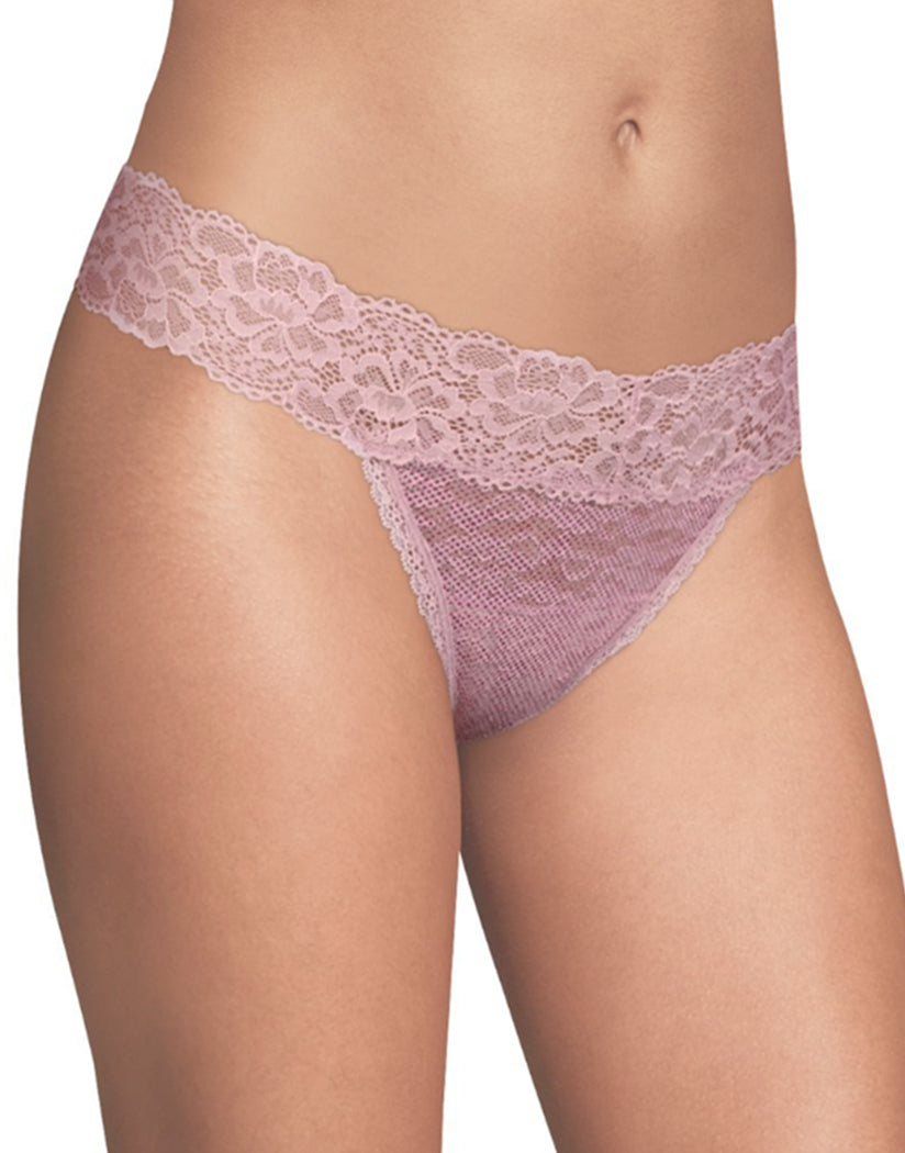 Raspberry Micro Dot w/Raspberry Icing Front Maidenform Sexy Must Haves Lace Thong DMESLT