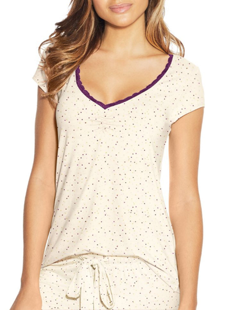 Grey Scattered Dot Front Maidenform Lace Trim Cap Sleeve Tee MFW7100