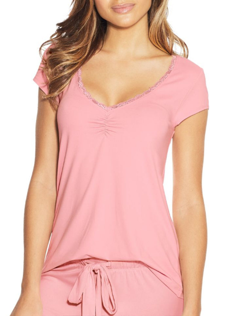 Pink Nectar Front Maidenform Lace Trim Cap Sleeve Tee MFW7100