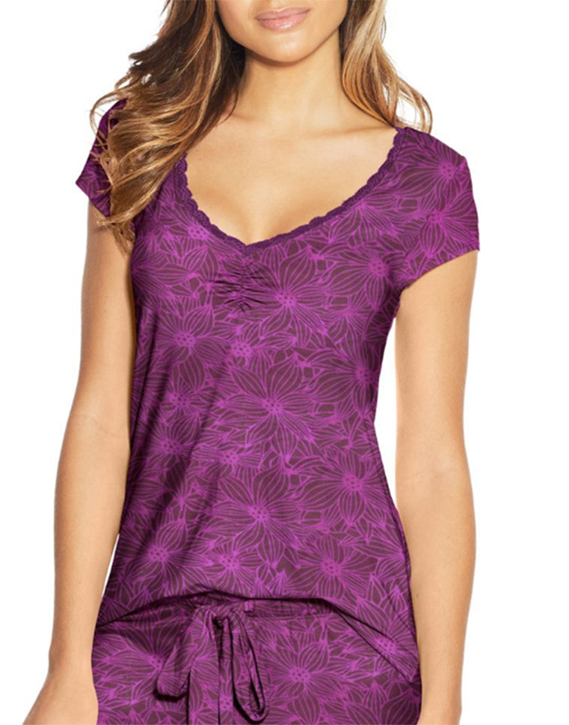 Purple Floral Front Maidenform Lace Trim Cap Sleeve Tee MFW7100