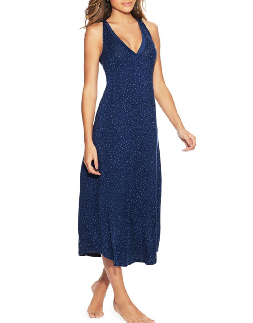 Blue Scattered Dot Front Maidenform V-Neck Maxi Gown MFW7260