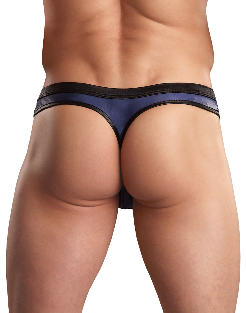 Black/Blue Back Male Power Color Block Zipper Thong