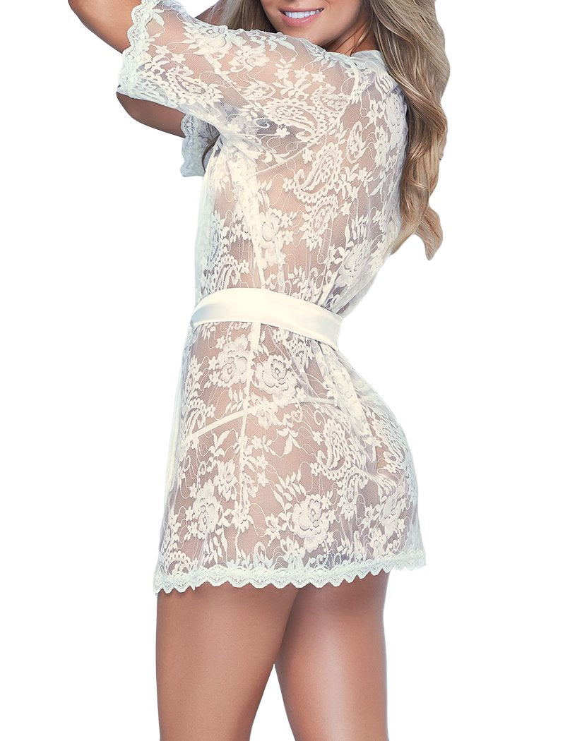 Ivory Back Mapale Lace Robe with Matching G-String Ivory