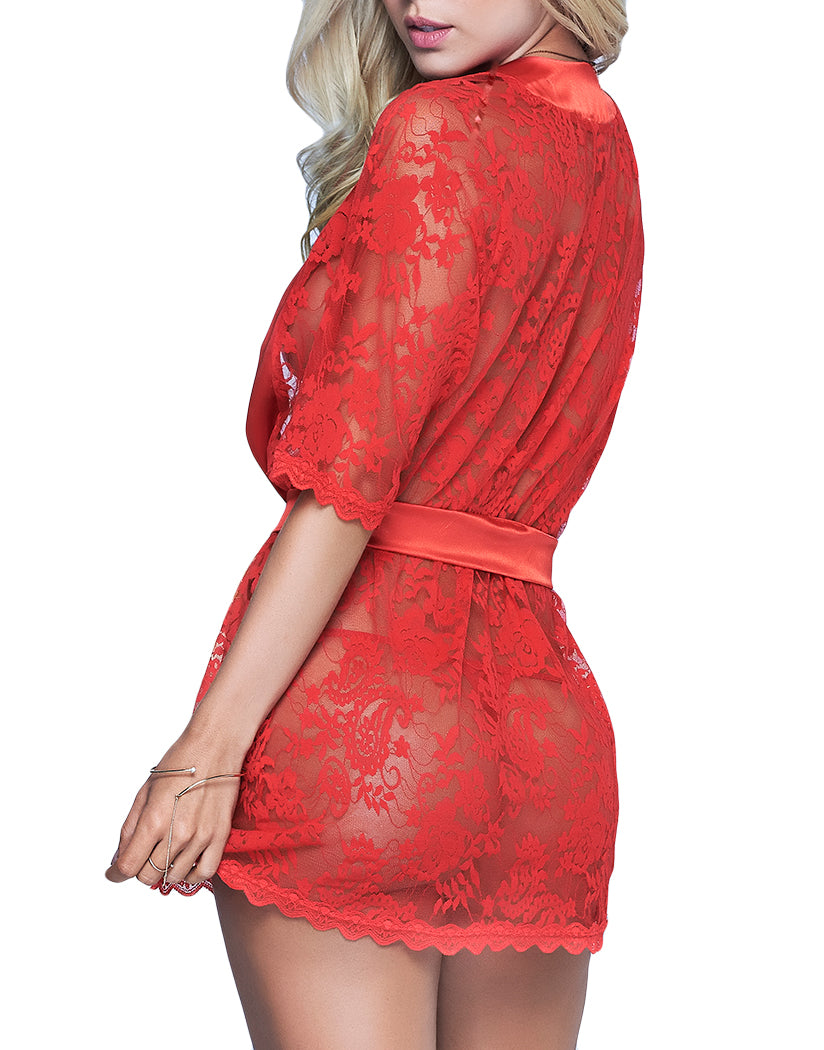 Red Back Lace Robe with Matching G-String