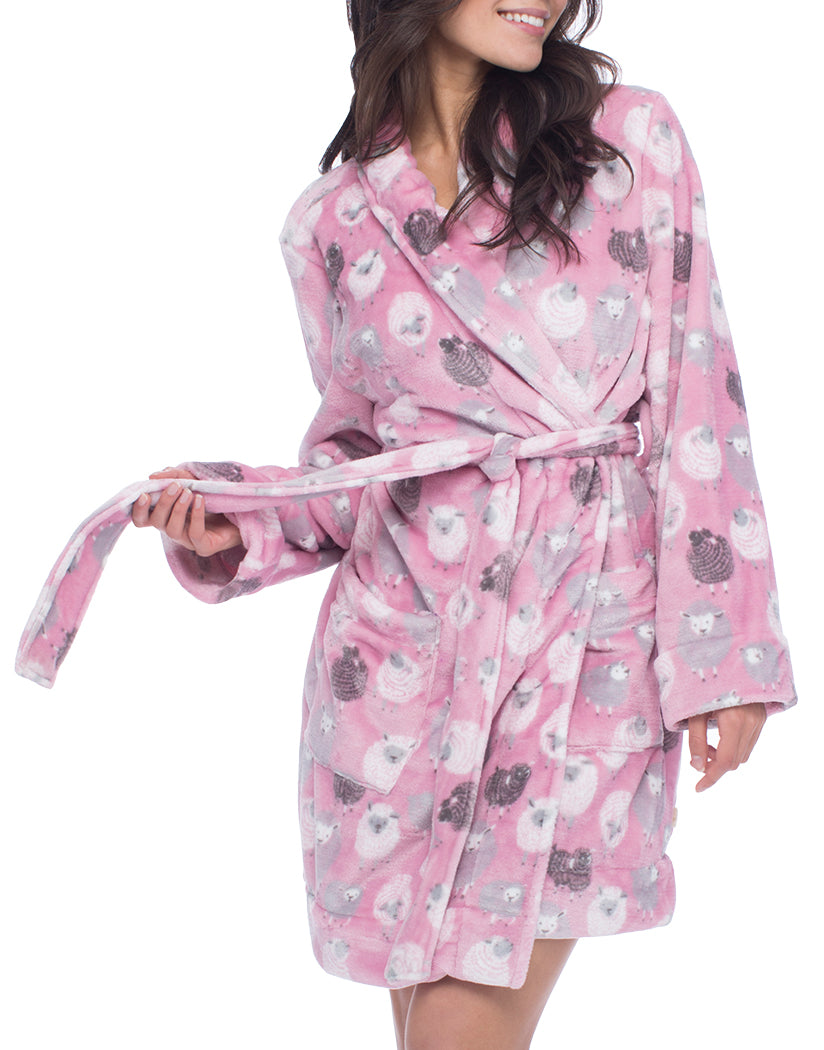 Plush Black Sheep Front Mid - Length Robe