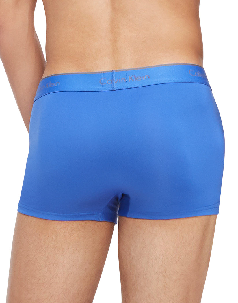 Black/Cobalt Water/Heather Grey Back Calvin Klein Microfiber Stretch Low Rise 3-pack Trunk NB1289